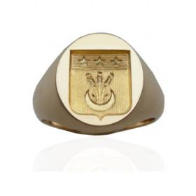 Chevaliere or 18 carats massif avec blason