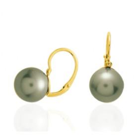 boucles d'oreilles or jaune 18 carats et perle de Tahiti ronde.