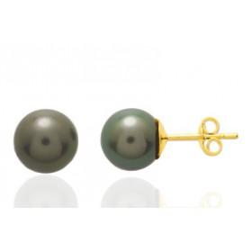 Boucles oreilles or jaune 18 carats et perles de Tahiti 8mm.