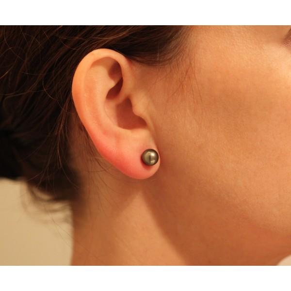choisir le plus récent super pas cher vente officielle Boucles d'oreilles or jaune 18 carat et perle de Tahiti 8 mm