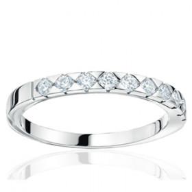 Bague alliance lucien Pfertzel or blanc 18 carats et diamants en demi-tour