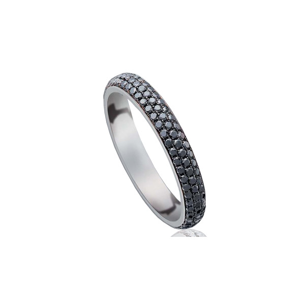 Bague alliance lucien Pfertzel or blanc 18 carats et diamants noirs 075 carats