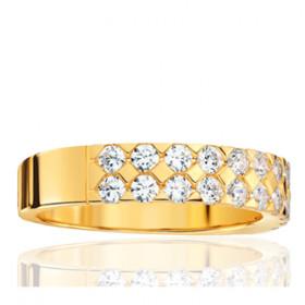 Bague alliance lucien Pfertzel or jaune 18 carats et diamants en demi-tour