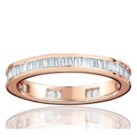 Bague alliance lucien Pfertzel or rose 18 carats et diamants en tour complet