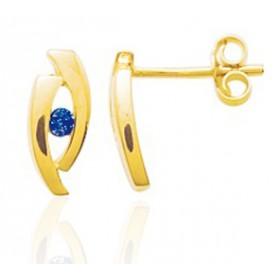 Boucles d'oreilles femme or jaune 18 carat et saphir 2  mm