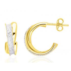 Boucles d'oreilles en or jaune demi-créoles glitter pour femme