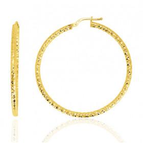boucles d'oreilles femme or jaune 18 carats créoles facettés 40 mm