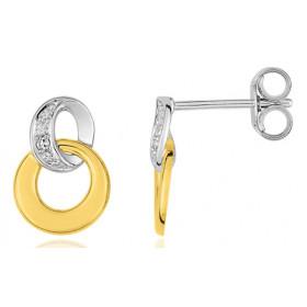 """boucles d'oreilles deux ors 18 carats et diamant """"cercles"""""""
