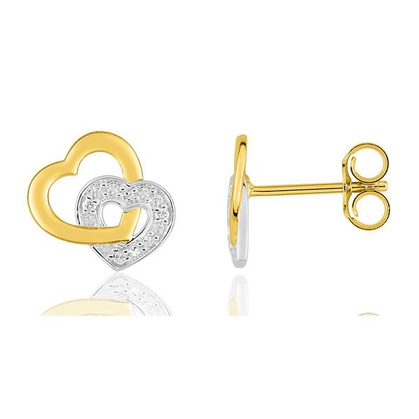 """boucles d'oreilles deux ors et diamant """"coeur"""""""