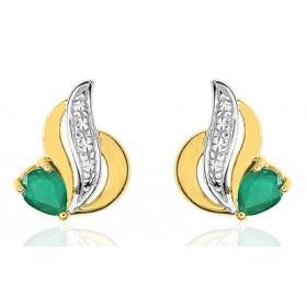 Boucles d'oreilles femme or jaune 18 carat et emeraude 4 x 3 mm
