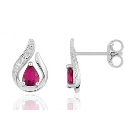 Boucles d'oreilles or blanc 18 carats, rubis et diamants