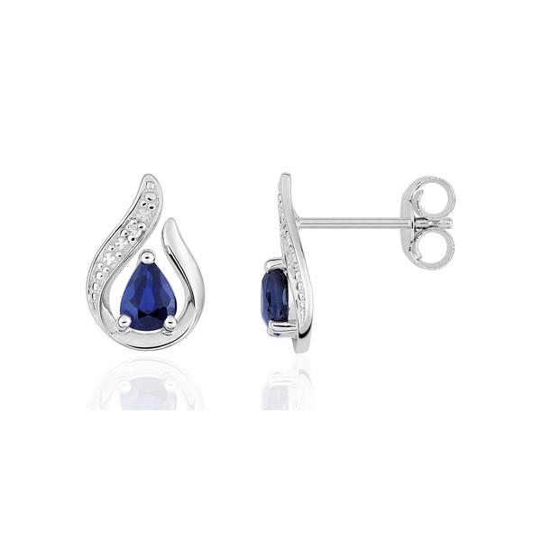 Boucles d'oreilles or blanc 18 carats, saphir poire et diamant 0,008 carat pour femmes.