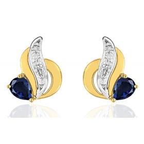 Boucles d'oreilles femme or jaune 18 carat et saphirs 4 x 3 mm