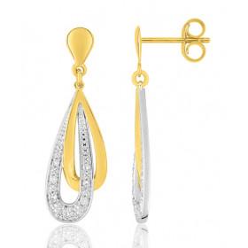 boucles d'oreilles deux ors 18 carats et diamant 0078 carat pour femme