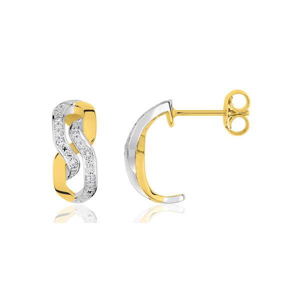"""boucles d'oreilles deux ors 18 carats et diamant """"chainon"""""""