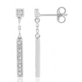 boucles d'oreilles pendants pour femme en or blanc et diamant