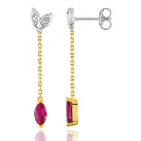 Pendants deux ors 18 carats, rubis et diamant pour femme