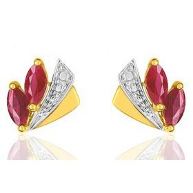 Boucles d'oreilles femme or jaune 18 carat et rubis 4,00mm