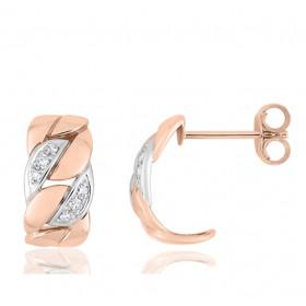 boucles d'oreilles deux ors 18 carats et diamant pour femme