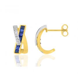 Demi-créoles femme deux ors 18 carat et saphirs 1,09 carat et diamant