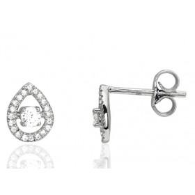 clous d'oreilles or blanc 18 carats et diamant 0,16 carat pour femmes.