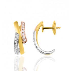 boucles d'oreilles trois ors 18 carats et diamant 0,20 carat pour femme