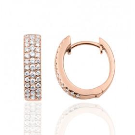 boucles d'oreilles or rose 18 carats et diamants 0,43 carat