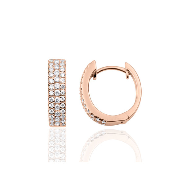 boucles d'oreilles or rose 18 carats et diamants 0,43 carat