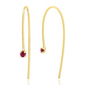 Boucles d'oreilles or jaune 18 carats et rubis rond 3 mm