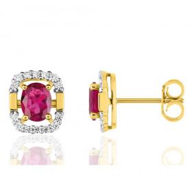Boucles d'oreilles femme or jaune 18 carat et RUBIS ovale et diamant 0,13 carat