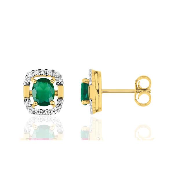 Boucles d'oreilles femme or jaune 18 carat et émeraude ovale et diamant 0,13 carat