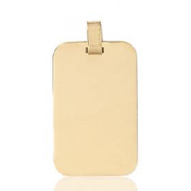Pendentif or jaune personnalisable rectangulaire à graver.