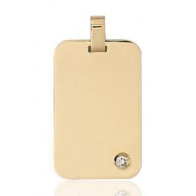 Pendentif or jaune personnalisable rectangulaire et diamant à graver.