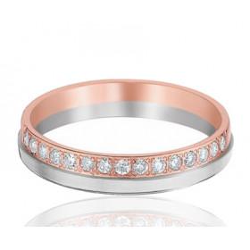 Bague alliance Huber & Klein deux ors   18 carats et diamants 0,25 carat