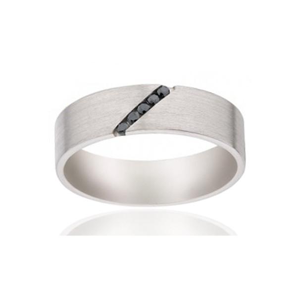 Alliance Viggo Sorensen en palladium et diamants noirs 0,07 carat