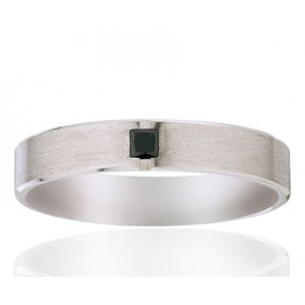 Alliance Viggo Sorensen en palladium et diamant noir 0,10 carat