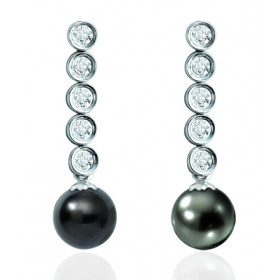Pendants or blanc 18 carats, diamants 0,30 carat et perles de Tahiti