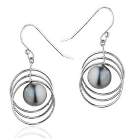 """boucles d'oreilles or 18 carats et perles de Tahiti rondes """"satellites""""."""