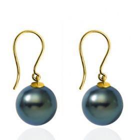 boucles d'oreilles or 18 carats et perles de Tahiti rondes 8/9mm.