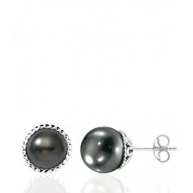 boucles d'oreilles or 18 carats et perles de Tahiti rondes 7/8mm.