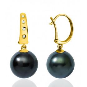 Pendants or blanc 18 carats, diamants 0,060 carat et perles de Tahiti