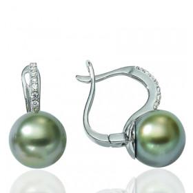 Pendants or blanc 18 carats, diamants 0,10 carat et perles de Tahiti