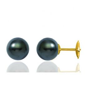 clous d'oreilles or 18 carats et perles de Tahiti rondes 7/8mm.