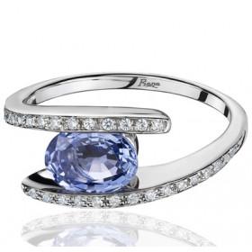 Bague Fiana joaillerie en or blanc 18 carats, diamant 0,15 carat et saphir de Ceylan 1,60 carat