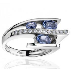 Bague Fiana joaillerie en or blanc 18 carats, diamant 0,12 carat et saphirs