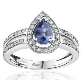 Bague Fiana joaillerie en or blanc 18 carats, diamant 0,23 carat et saphir