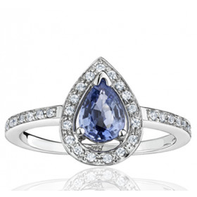 Bague Fiana joaillerie en or blanc 18 carats, diamant 0,16 carat et saphir