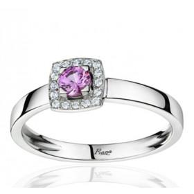 Bague Fiana joaillerie en or blanc 18 carats, diamant 0,06 carat et saphir