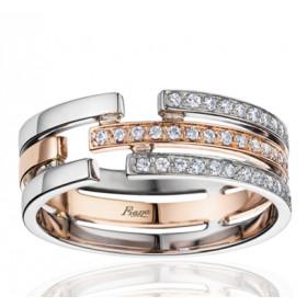 Bague Fiana joaillerie deux ors 18 carats, diamant 0,19 carat