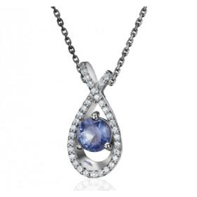 Collier Fiana joaillerie en or blanc 18 carats, diamant 0,16 carat et saphir